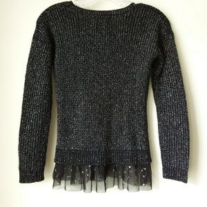 Pink Republic Sweaters - Pink Republic | Black Silver Threaded Top